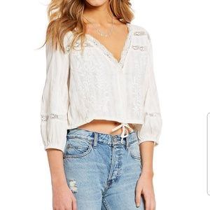 Free People Tops - NWT Free People Lace V Neck Tie Waist Crop Top XS